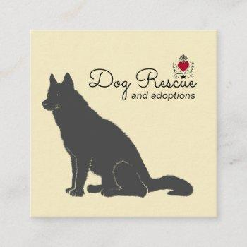 black dog illustration rescue and adoptions square business card