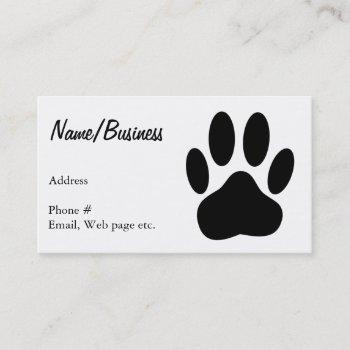 black dog paw print business card