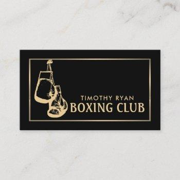 black & gold boxing gloves, boxer, boxing trainer business card