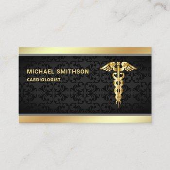 black gold caduceus symbol medical professional business card
