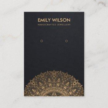 black gold classic ornate mandala earring display business card