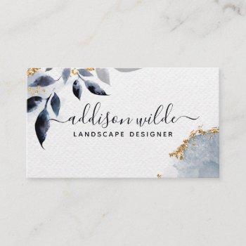 black gold glitter botanical leaves modern foliage business card