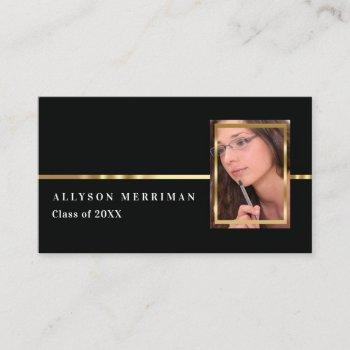 black | gold graduation photo insert name cards