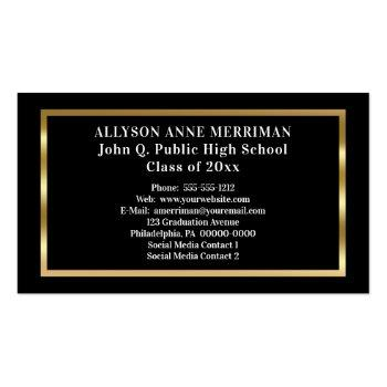 Small Black | Gold Graduation Photo Insert Name Cards Back View