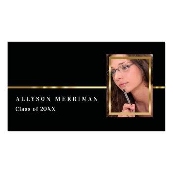 Small Black | Gold Graduation Photo Insert Name Cards Front View