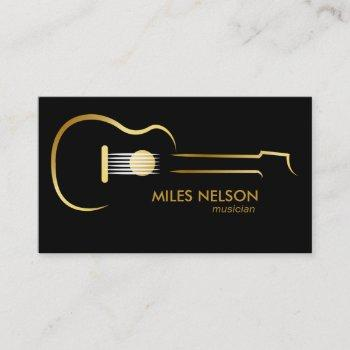 black gold guitar modern logo music business card