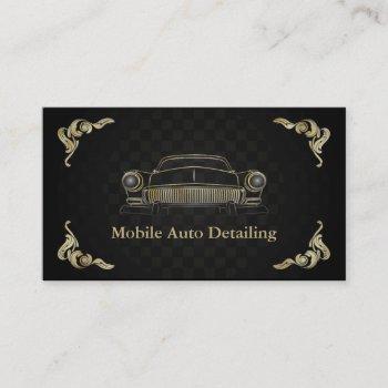 black gold retro auto detailing business card