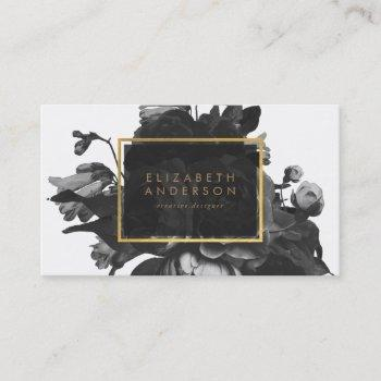 black gold rose bouquet business card
