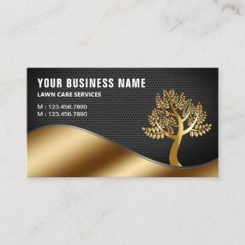black gold tree gardening landscaping lawn care business card