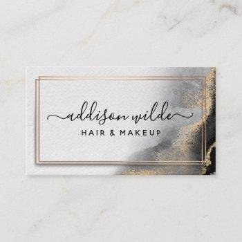 black gold watercolor modern chic abstract business card