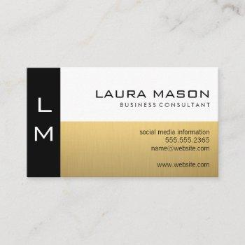 black gold white business card