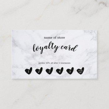 black heart white marble customer loyalty card