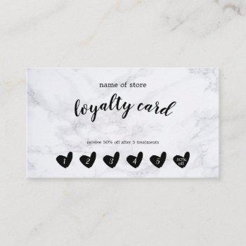 black heart white marble customer loyalty card