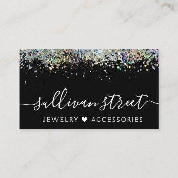 black holographic glitter jewelry boutique business card