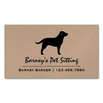 black labrador retriever dog silhouette black lab magnetic business card