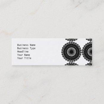black lace pattern design. custom mini business card