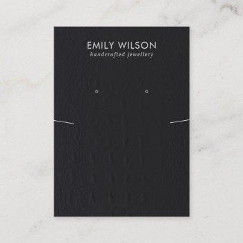black leather texture necklace earring display business card