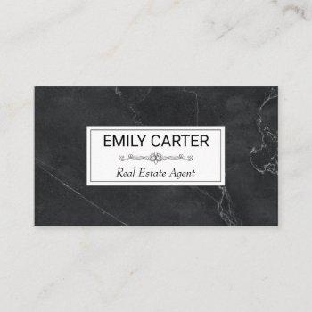 black marble | real estate agent business card