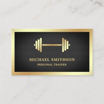black mesh gold dumbbell fitness personal trainer business card