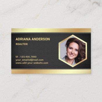 black mesh gold foil real estate photo realtor business card