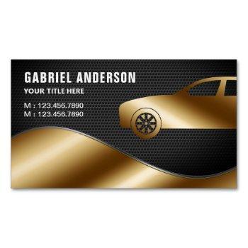 black mesh gold luxury car hire chauffeur business card magnet