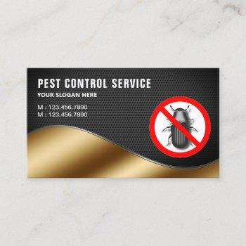 black mesh gold pest control service business card