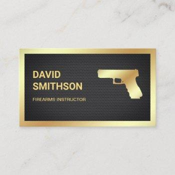 black mesh gold pistol gun shop gunsmith firearms business card