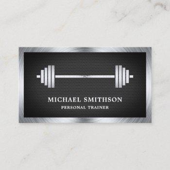 black mesh steel barbell fitness personal trainer business card