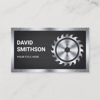 black mesh steel circular saw handyman carpenter business card