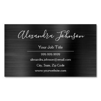 black metallic foil modern and elegant business card magnet