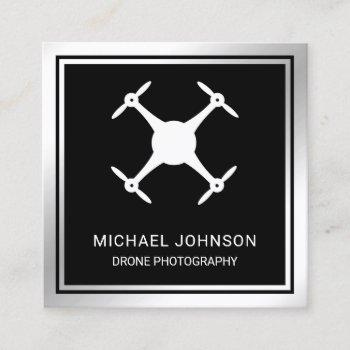 black metallic steel modern drone photography square business card