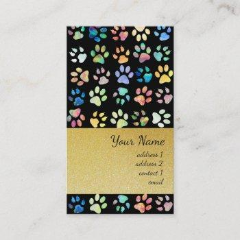 black pet paw prints pattern and faux gold glitter business card