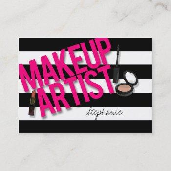 black & pink makeup artist business card