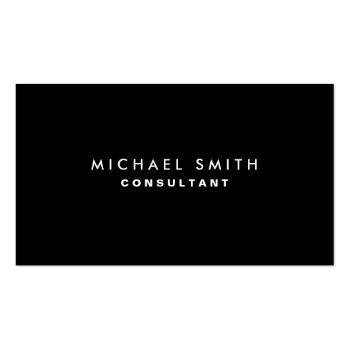 Small Black Professional Elegant Modern Plain Simple Business Card Front View