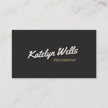 black retro vintage handwritten script typography business card