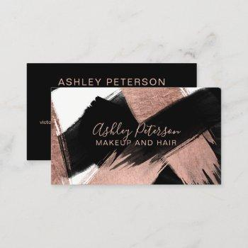 black rose gold brushstroke hair makeup typography business card
