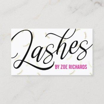 black script & gold lashes business card