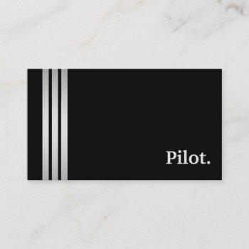 black & silver pilot professional business card