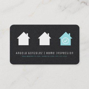 black simple modern robin egg blue house inspector business card