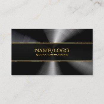 black stainless steel & gold accents template business card