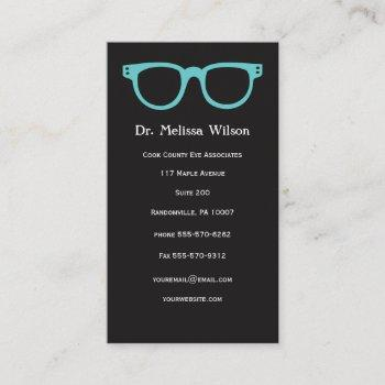 black vertical eye doctor optometrist glasses business card
