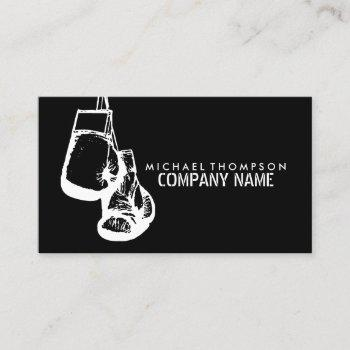 black & white boxing gloves, boxer, boxing trainer business card