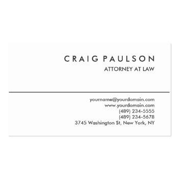 Small Black White Consultant Attorney Business Card Front View