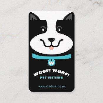 black & white happy dog pet sitting & grooming business card