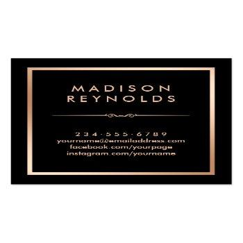 Small Black White Marble Rose Gold Beauty Salon Square Business Card Back View