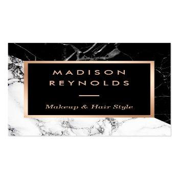 Small Black White Marble Rose Gold Beauty Salon Square Business Card Front View