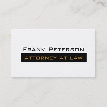 black white minimalist gold attorney at law business card