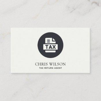 black white modern tax return agent preparer icon business card