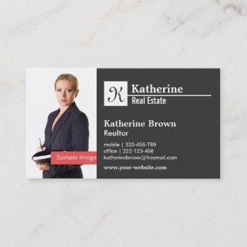 black white monogram modern minimalist photo business card