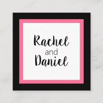 black white pink wedding belly band accessory squa square business card